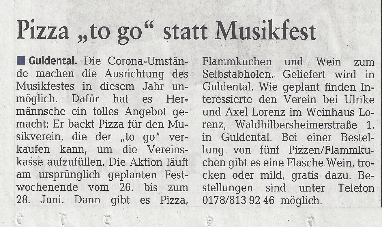 """Pizza """"to go"""" statt Musikfest"""