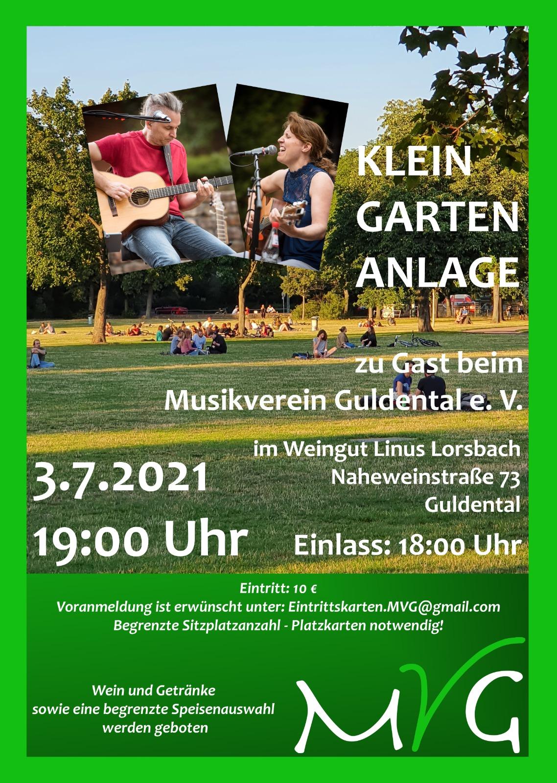 Open-Air-Konzert <br>KLEINGARTENANLAGE zu Gast beim Musikverein Guldental <br> 3. Juli 2021