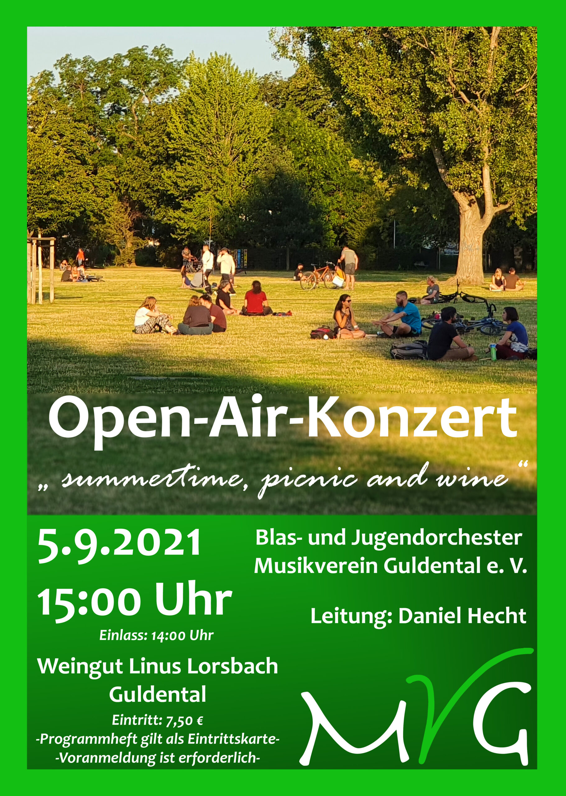 "Jetzt reservieren: OPENAIR-Konzert des Musikverein Guldental ""summertime, picnic and wine"" – 5. September 2021 – 15.00 Uhr"